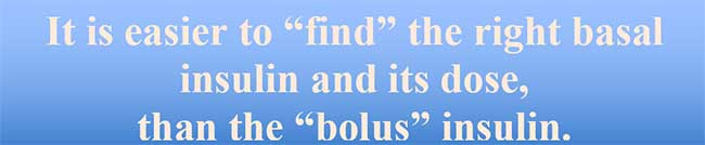 """It is easier to """"find"""" the right basal insulin and its dose,  than the """"bolus"""" insulin."""