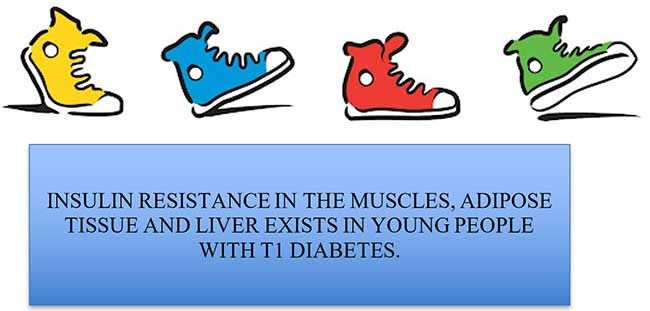 INSULIN RESISTANCE IN THE MUSCLES, ADIPOSE TISSUE AND LIVER EXISTS IN YOUNG PEOPLE WITH T1 DIABETES.